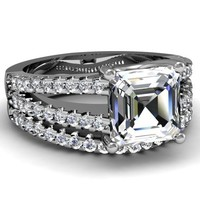 1.30 Ct Asscher Cut Diamond Classic V Split Engagement Wedding Rings Set VVS1 GIA