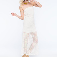 Miss Chievous Crochet Tube Maxi Dress Ivory  In Sizes