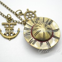 Anime One piece pocket watch,Luffy's hat and one piece anchor pendant locket watch necklace NWHZ04