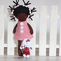 Cloth Doll Rag Doll Handmade Fashion Doll Soft Afro American Doll with Clothes - Pink white dots Cotton Doll Dress, skirt - MADE TO ORDER