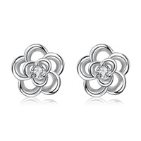 Silver Tone Spiral Clover Stud Earrings