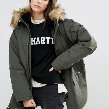 Carhartt WIP Oversized Anchorage Hooded Parka Jacket With Removable Faux Fur at asos.com