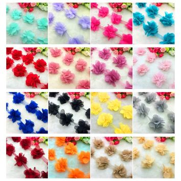 13pcs/1yard 3D  Chiffon Cluster Flowers Wedding Dress Bridal Fabric Lace Trim Fabric DIY Sewing