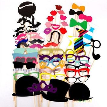 CREYUG3 58PCS Colorful Props On A Stick Mustache Photo Booth Party Fun Wedding Favor Christmas Birthday Favor = 1946650628