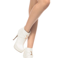White Faux Leather Cross Strap Platform Ankle Booties