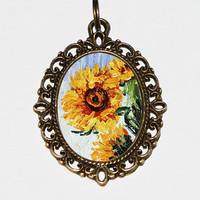 Monet Sunflower Necklace, Sunflowers, Claude Monet, Sunflower Jewelry, Oval Pendant