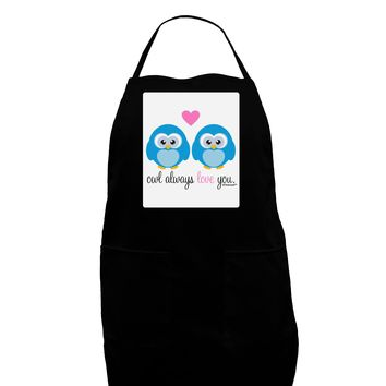 Owl Always Love You - Blue Owls Panel Dark Adult Apron by TooLoud