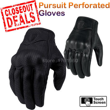 Hot Sale Pursuit Stealth Motorcycle Gloves Motocross Full Leather Men Racing Motorbike Black Gloves Closeout