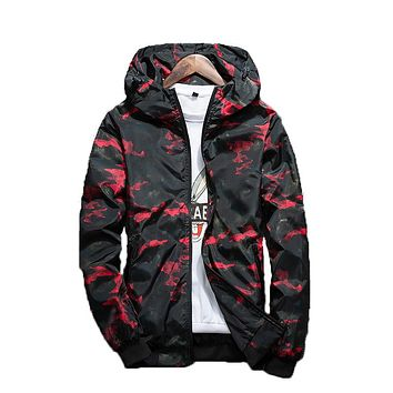 Men's Camo Windbreaker Zip Up Hoodie