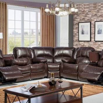 3 pc townsend collection brown leather like vinyl with white accented stitching and recliner ends sectional sofa