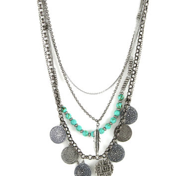 Tiny Treasures Necklace in Antique Silver with Turquoise, Coins, Feathers and Fleur de Lis