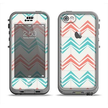 The Vintage Coral & Teal Abstract Chevron Pattern Apple iPhone 5c LifeProof Nuud Case Skin Set