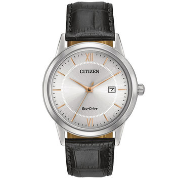 Citizen - Men's Eco-Drive Stainless Steel Black Leather Watch AW1236-03A