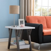 Two-Tone Wooden End Table, White & Distressed Gray