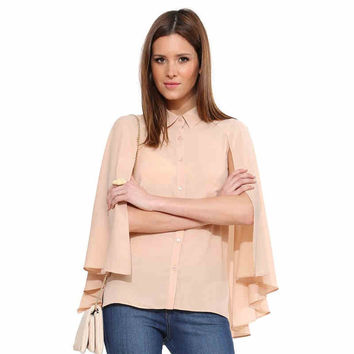 Pink Cape Chiffon Collared Blouse