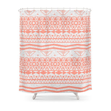 Society6 Whimsical Neon Coral Pink Abstract Aztec Pattern Shower Curtains