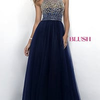 Blush A-Line Prom Dress with Beaded Top
