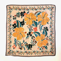 OROTON!!! Vintage 1980s 'Oroton' square, silk scarf with tropical floral print / Made in Japan
