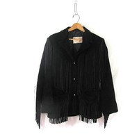 Vintage black suede leather fringed biker coat // motorcycle jacket / Long Schott's Western jacket /