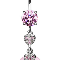 Shimmering Hearts Belly Button Ring