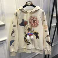 GUCCI flower rose print sweater hoodie pullover