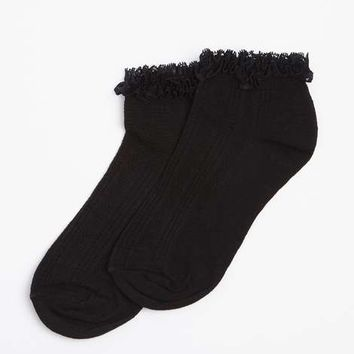 Black lace top ankle socks - Socks - Accessories