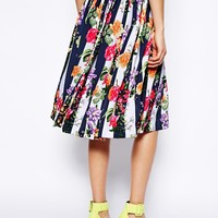 ASOS Midi Skirt In Stripe And Floral Print