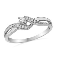 1/8 CT. T.W. Diamond Bypass Promise Ring in 10K White Gold