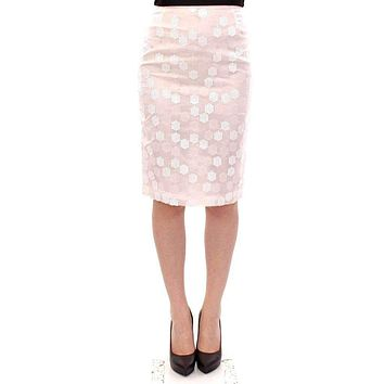 White Sequined Straight Pencil Skirt