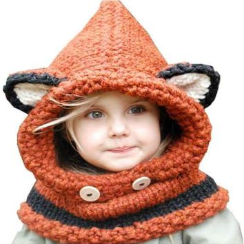 Kids Hat Scarf Set Winter Children Fox Ears Handmade Crochet Knit Hats Cartoon Knitted Baby Beanies Cap Neck Warmer Caps Shawl