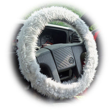 Silver grey faux fur furry fluffy fuzzy car Steering wheel cover