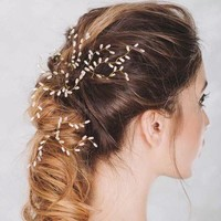 3 PCS Gold Leaf Hair Pins Pearl Bridal Hairpins Vintage Bridal Headdress Wedding Hair Accessories Cute Bridal Headpiece