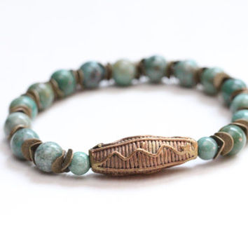 tribal fashion african stretch bracelet / african jade bracelet / african baule brass bead (ivory coast africa) / earthy natural rustic chic