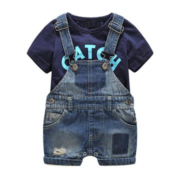 Summer baby clothes babeis fashion newborn denim overalls t-shirt cotton baby costume hot sale baby boy clothes size 70 80 90 95