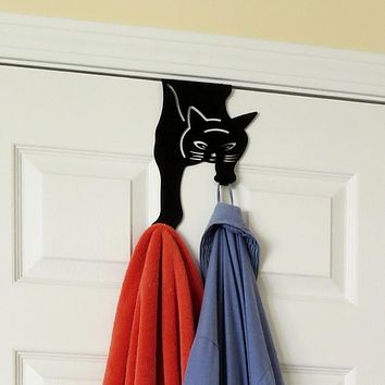 Evelots Black Cat Over the Door Double Hook Hanger, Home And Office Organizer
