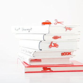 Bookmark Citroen 2CV laser cut metal powder coated.Stylish gift for book lover.Free shipping.