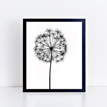 Dandelion, printable, instant download, minimalist, decor, minimal, design, black and white, plant, wall decor, wall art, home decor, office