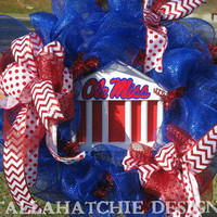 Ole Miss Red & Blue Deco Mesh Wreath; Ole Miss Door Wreath; Ole Miss  Door Hanger;University Of Mississippi Wreath
