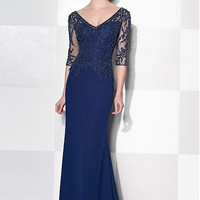 [134.99] Elegant Tulle & Chiffon V-Neck Sheath Mother of the Bride Dresses With Beaded Lace Appliques - dressilyme.com