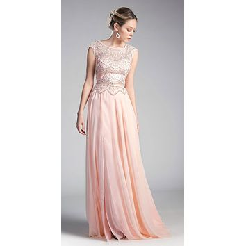 Peach Illusion Beaded Formal Gown Cap Sleeves with Slit