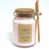 Pink Rose Petal Sugar- 8 oz Glass Sugar Jar with Mini Wooden Spoon for Tea Parties, Coffee, Tea, Berries, Cider, Lemonade, Baking