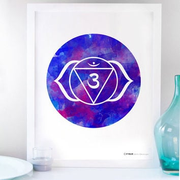 Yoga Art yoga Poster Third Eye Chakra Ajna Meditation art Yoga decor Spiritual Healing art Om indigo Blue Mandala Reiki Art Sacred Geometry
