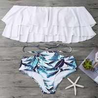 Sexy Beach Summer Swimsuit Hot New Arrival Print Shorts Lovely Ruffle Swimwear Bikini [10671943879]