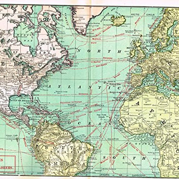 History of Our Country - Map - VOYAGES OF THE GREAT EXPLORERS - Chromolithograph - 1899