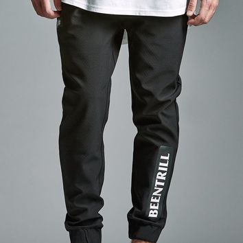 Been Trill ## Patch Fleece Jogger Pants - Mens Pants - Black
