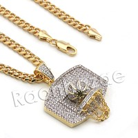 Lab diamond Micro Pave Basketball Hoop Pendant w/ Miami Cuban Chain BR056