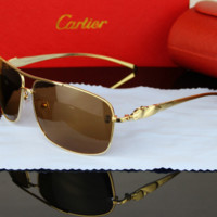 Cartier Leopard Head Type Sunglasses Men Vintage Fashion Metal Frame Mirror Sun Glasses Unique Flat Sunglasses G-YJ-LHSTCYJC