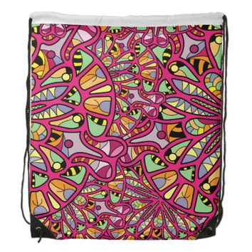 Kaleidoscopic Multicolored Abstract Pattern Drawstring Bag