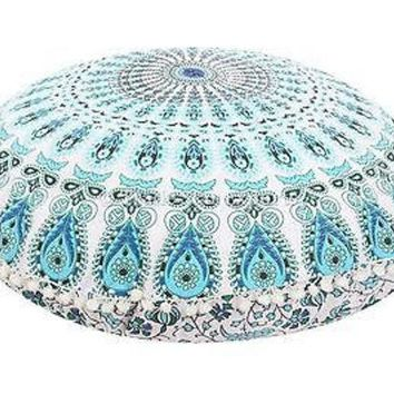 MDIG9GW 32' Round Mandala Tapestry Floor Pillows Cover Meditation Cushion Covers