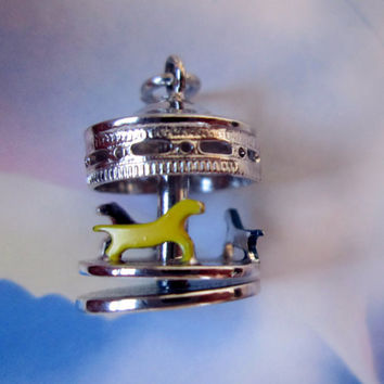 Vintage Sterling Silver Moveable Carousel (Merry Go Round) Charm, Circa 1970s